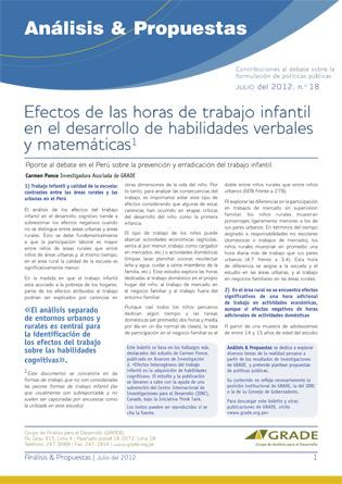 Efectos de las horas de trabajo infantil en el desarrollo de habilidades verbales y matemáticas